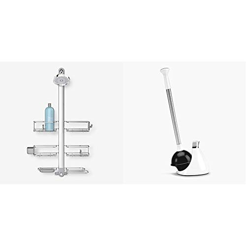 simplehuman Adjustable Shower Caddy XL, Stainless Steel and Anodized Aluminum & Toilet Plunger and Caddy, Stainless Steel, White