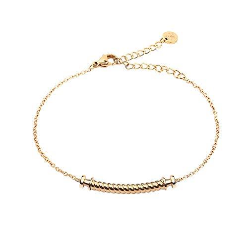 Paul Hewitt Portside Pulsera de señoras de Acero Inoxidable - Brazalete para señoras en Oro, Pulsera de Mujer bañada en Oro con Colgante en Forma de Nudo Marinero