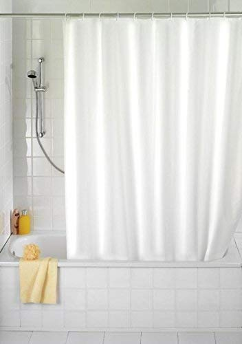 Douchegordijn wit 180 x 230 Textiel! 180 breed en 230 hoog. INCL. RINGE! **Extra lang ** perfect voor hoge plafonds! SHOWER CURTAIN WHITE EXTRA LONG!