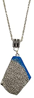 Aga Glitter Embellished Irregular Shaped Handmade Resin Pendant Sterling Silver Necklace for Women - Blue and Silver