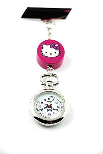 Schwesternuhr mit Hello Kitty weiß pink Ansteckuhr Kitteluhr Katze Katzenuhr Ansteckuhr Pulsuhr analog