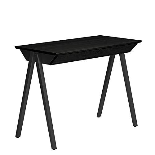 BORCAS Vogel Escritorio | 100 x 77 x 50 cm | Mesa de Oficina Moderna de Roble Negro | con 2 cajones | Fabricado en UE | para Estudio, Oficina | Color Negro