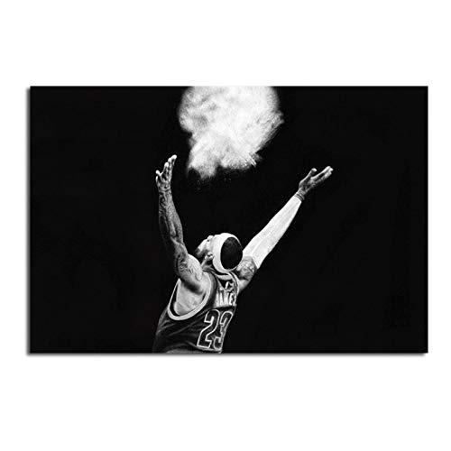 Ignite Wander Póster e Impresiones Imágenes de reproducción de Baloncesto en Blanco y Negro para la Sala de Estar Decoraciones de Pared para el hogar Pinturas -60x80 cm Sin Marco 1PCS