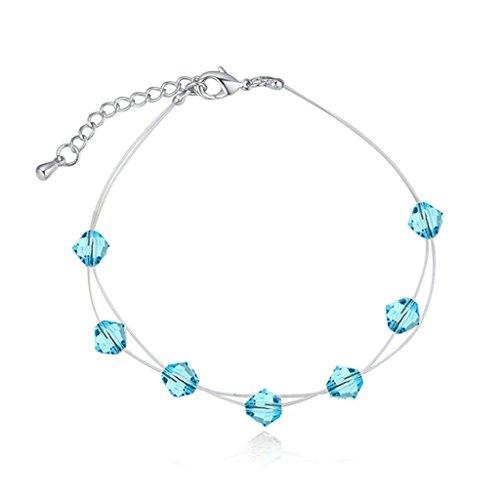 Beydodo Schmuck Vergoldet Damen Armband Zirkonia mit Extender Kette Einstellbare Armreif Meer Blau Armbänder Länge 20CM