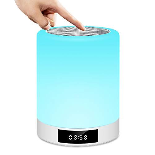 Nachttischlampe, Touchscreen, wiederaufladbar, Tischlampe, Lautsprecher, Bluetooth, LED, mehrfarbig, Helligkeit verstellbar, FM-Radio, Wecker, Uhr, MP3-Player, Freisprecheinrichtung von Prumya