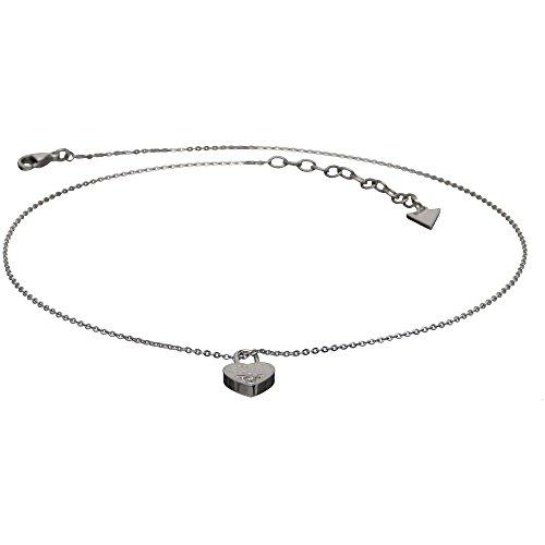 Guess Stainless Steel Collection Edelstahlkette Halskette Anhänger Herzschloss Zirkonia Filigran USN81005 UVP 95€