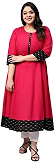 Yash Gallery Women's Plus Size Cotton Slub Plain Dye Anarkali Kurta (Pink)