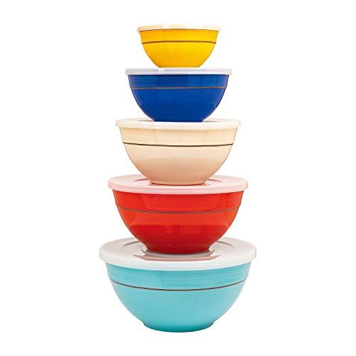 Multicolor Melamine Bowl Set with Lids 10Piece Multicolor