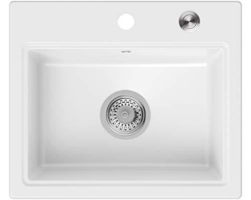 Granitspüle Weiß 51 x 43,5 cm, Spülbecken + Siphon Pop-Up, Küchenspüle ab 50er Unterschrank, Einbauspüle Oslo von Primagran