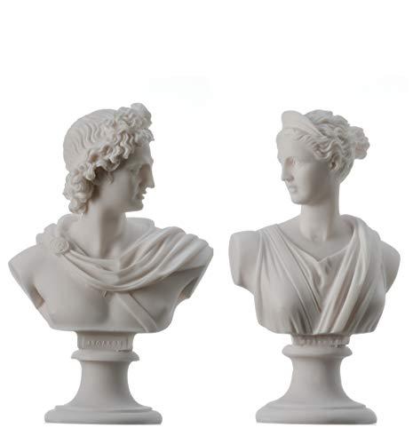 Artemis Diana und Apollo Büste Griechische Statuen Handgemachte Figur Götter Alabaster Kunsthandwerk