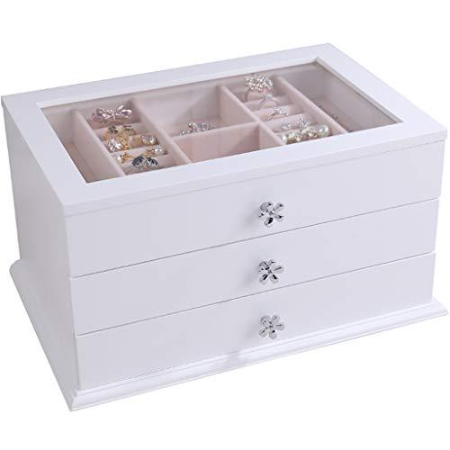 Caja de exhibición de joyería Grande con Ventana Transparente, Caja de Almacenamiento de organización de joyería, diseño de Almacenamiento de cajones de 3 Capas, para Regalos de vestidor de do