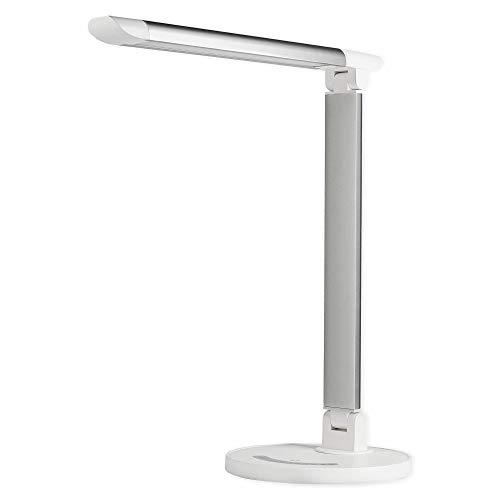 LED Schreibtischlampe weiß dimmbar mit Touch-Funktion – Tischeuchte schwenkbar 5 Lichtfarben einstellbar fürs Büro und Schreibtisch Memory-Funktion – USB-Anschluss zum Laden, Leselampe Touchlampe