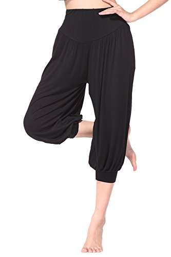 BeautyWill Yogahose/Laufhose/Jogginghose Fitness-Hose Hose in 3/4-Länge für Damen - für Sport und Training aus 95% Modal, L, Schwarz, L, Farbe: Schwarz