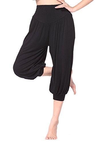 BeautyWill Yogahose/Laufhose/Jogginghose Fitness-Hose Hose in 3/4-Länge für Damen - für Sport und Training aus 95% Modal, XXL, Schwarz, XXL, Farbe: Schwarz