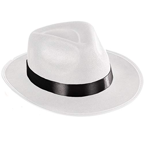 Funny Party Hats White Felt Fedora Gangster Hat - Mobster Costume Hats
