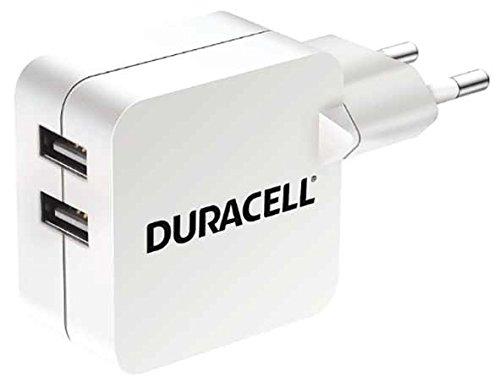 Duracell 4.8A Dual USB-Ladegerät Netzladegerät kompatibel mit Smartphones, MP3-Playern, Tablets uvm 2-pin Netzstecker - Weiß