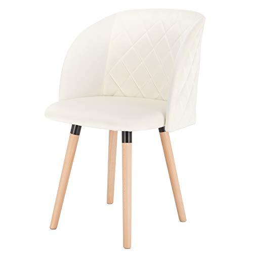EUGAD 0300BY-1 1 Stück Esszimmerstühle Küchenstuhl Wohnzimmerstuhl Polsterstuhl, Retro Design, gepolsterte Sitzfläche aus Samt, Massivholz, Cremeweiß
