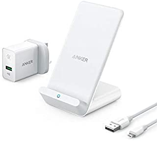 Anker PowerWave 7.5 Fast Wireless Charging Stand with Internal Cooling Fan, Qi-Certified, 7.5W Charges iPhone X/8, 10W Charges Galaxy S9/S9+(with Quick Charge Adapter) (Renewed)