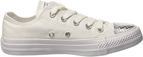 Converse Damen All Star Metallic Toecap Sneakers, Weiß (White/Silver/White), 38 EU