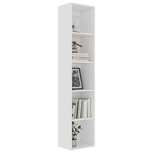 Extaum Libreria, Libreria Moderna, Libreria Bassa, Libreria da Parete, Mobiletto, Mobiletto Multiuso, in Truciolato 40x30x189 cm