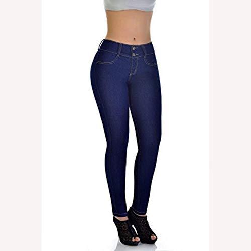 None/Brand Más Tamaño Jeans Mujer Cintura Alta Estiramiento Novio Mamá Jeans Mujer Denim Lápiz Elástico Azul Jean Pantalones Skinny Pantalones