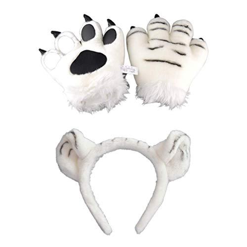 Beautiful crown Adultos para nios Peluche Tiger Cosplay conjunto de disfraces, orejas lindas DIEVECER 3D PAW PAW GUANTES MUESTROS MISMOS RELLENOS TOYS MITENS PARA SUMINISTROS DE FIESTA PROPIEJOS DE R