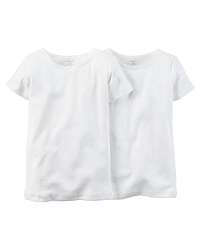 Carter's Girls' 2-Pack Cotton Short-sleeve Undershirt (2T/3T, White)