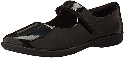 Hush Puppies unisex child Lexi Mary Jane Flat, Black Patent, 4.5 Big Kid US
