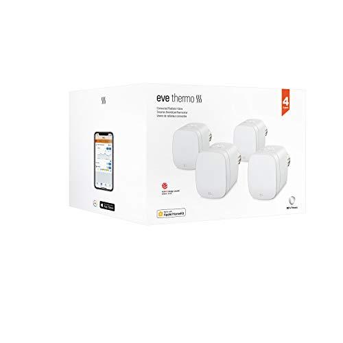 Eve Thermo, Pack de 4 - Válvula inteligente de radiador con pantalla LED, control automático de temperatura, no necesita pasarela, controles táctiles integrados