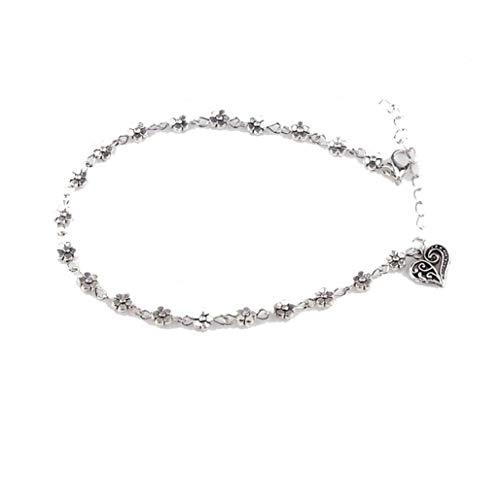 La catena del calzino Donne Bracciale in argento a piedi nudi del sandalo del piede Beach Bead braccialetto alla caviglia cavigliera con Cuori Pandent forniture viso