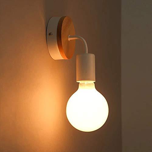 QNDDDD Lámparas de Pared, E27 Hierro Espejo Pequeño Luces Lámparas de Pared Americanas Iluminación Interior Sala de Estar Moderna Restaurante de Madera Dormitorio Aplique Decorativo de una Sola Cabez