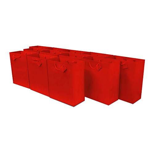 6x7.5x3' 12 Pcs. Small Red Premium Quality Paper Gift Bags with Handles, Party Favor Bags for Birthday Parties, Weddings, Holidays and All Occasions