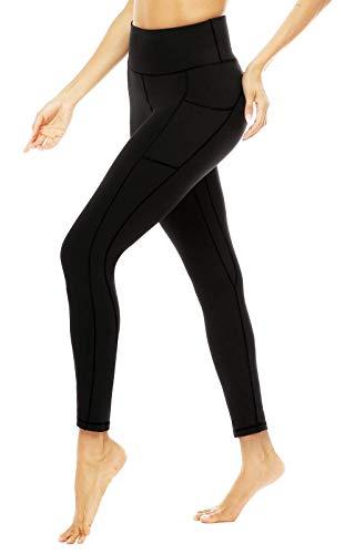 JOYSPELS Leggings Damen High Waist, Lange Sporthose damen mit Taschen Blickdicht Sport leggings Sportleggins Damen Lang, Schwarz, XS