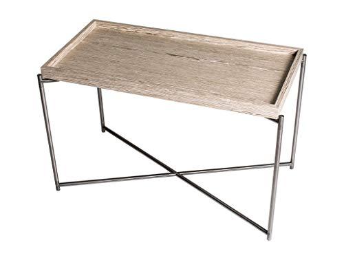 Rectangular Tray Top Side Table - Weathered Oak Tray & Gun Metal Frame