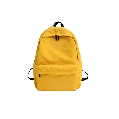 GO-AHEAD Mochila, mochila de lona para mujer, casual, de gran capacidad, mochila de viaje simple para la escuela (color: amarillo, tamaño: 29 cm x 12 cm x 40 cm)