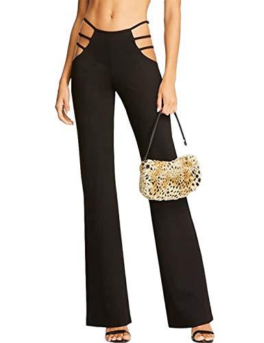 N / D Frauen schneiden Yoga-Hosen aus Elastic Waist Flare Bootleg Work Long Pants Bottom Hosen (Black, M)