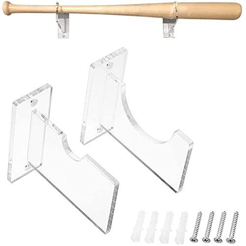 2 Piezas Bate de Béisbol Montado Pared, Percha de Bate de Béisbol, Soporte de Exhibición de Bate de Béisbol Horizontal de Montaje Acrílico Transparente, para Bate Béisbol, Softbol, Palo Hockey
