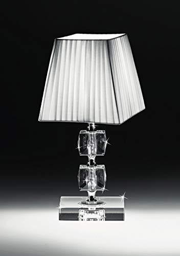 Lumetto di cristallo per camera da letto classica abat jour tessuto bianco da comodino