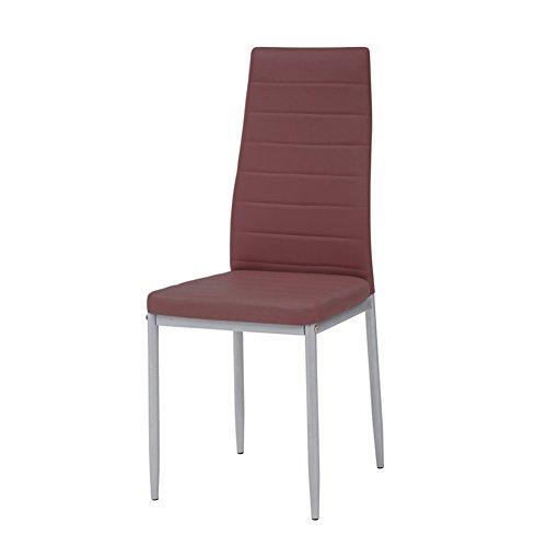 Cribel Queen Set Sedia, Metallo Laccato, Ecopelle, Alluminio/Bordeaux, 47 x 40 centimeters, 4 Pezzi