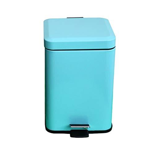 Pedaal Prullenbak Dikke roestvrijstalen verf Home Keuken Badkamer Rust Afdingende overdekte prullenbak (Kleur: Zilver, Grootte: 6L) (Color : Blue, Size : 6L)