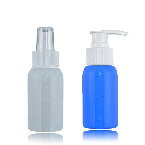 Set von 2 Silikon-Reiseflaschen, auslaufsicher, nachfüllbar, Reisebehälter, Zubehör, Toilettenartikel, 50 ml, zusammendrückbar, feiner Nebel, Sprühflasche, Pumpflasche für Shampoo, ätherische Öle