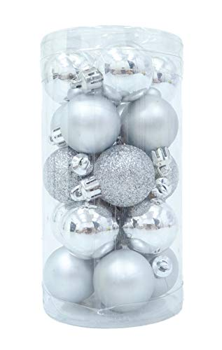 Christmas Concepts Pack of 20-30mm Baubles - Shiny Matte & Glitter Mini Baubles - Christmas Tree Baubles (Silver)