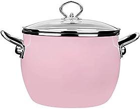 Praktisch Braadpan gerechten emaille braadpan pot met glazen deksel, ronde melkpot babyvoeding supplement pottype kleur: r...
