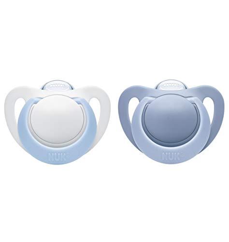 NUK Genius Silicone fopspeen voor delicate pasgeborenen, 2 stuks 0-2 maanden 0-2 maanden blau /weiß