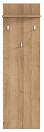 Boardd - Perchero de pared de madera para entrada, pasillo con 3 ganchos y estante, color roble, 45 x 148 x 21,5 cm