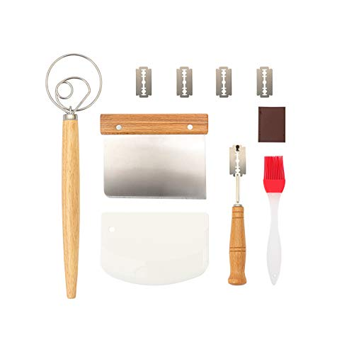 Danish Dough Whisk, High Grade Stainless Steel Dough Scraper, Bread Knife, Food-grade Silicone Brush,the Best Tool Kit to Make Pizza Dough Baked Cake Bread Biscuits.