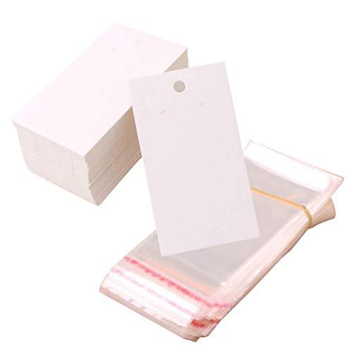 50 pz Orecchino Display Card Carta Collana Display Cards Orecchino Porta Carte Etichette di Carta Kraft Vuote con 50 pz Sacchetti Autosigillanti per Gioielli FAI DA TE Bianco