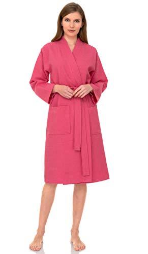 towelselections Mujer de albornoz, albornoz de Kimono de Spa de lino, hecho en Turquía -  Rosado -