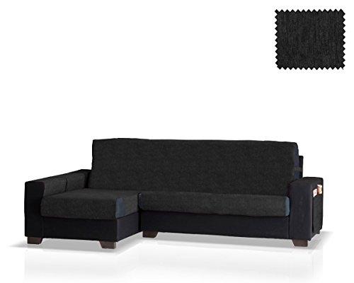 JM Textil Schoner für Ecksofa mit Larissa Ottomane Links, Grösse Gross (275 cm.), Farbe Schwarz