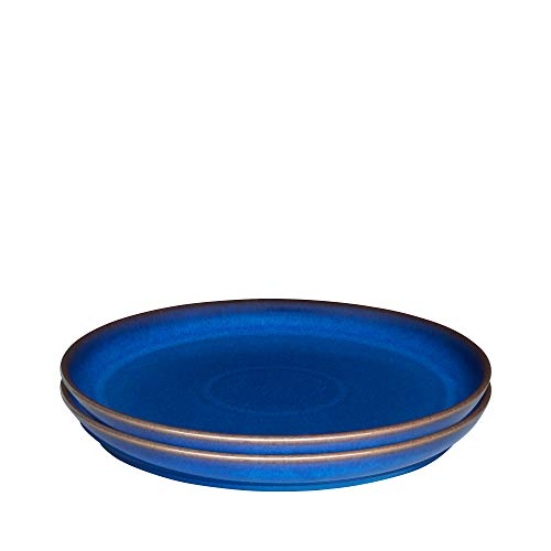 Denby 1048825 Imperial Blue 2 Piece Coupe Dinner Plate Set